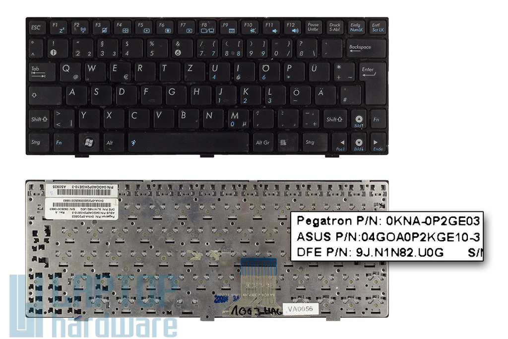 Asus EEEPC 1002H, 1003HAG használt német netbook billentyűzet (0KNA-0P2GE03)