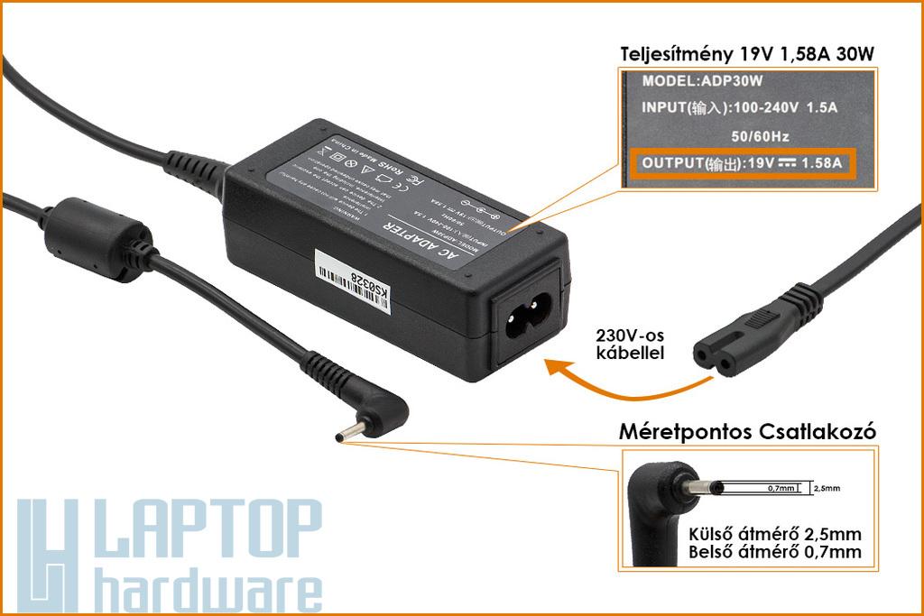 Asus EEEPC 19V 1.58A 30W helyettesítő új laptop töltő (EXA1004EH)