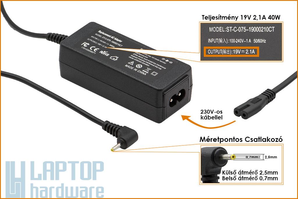 Asus EEEPC 19V 2.1A 40W helyettesítő új laptop töltő (ADP-40PH AB, EXA0901XH)
