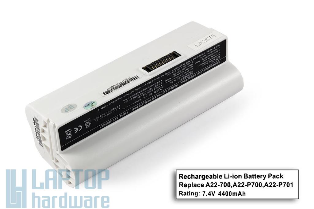 Asus EEEPC 700, 701, 702, 900, A22-700 fehér 4 cellás helyettesítő új laptop akkumulátor