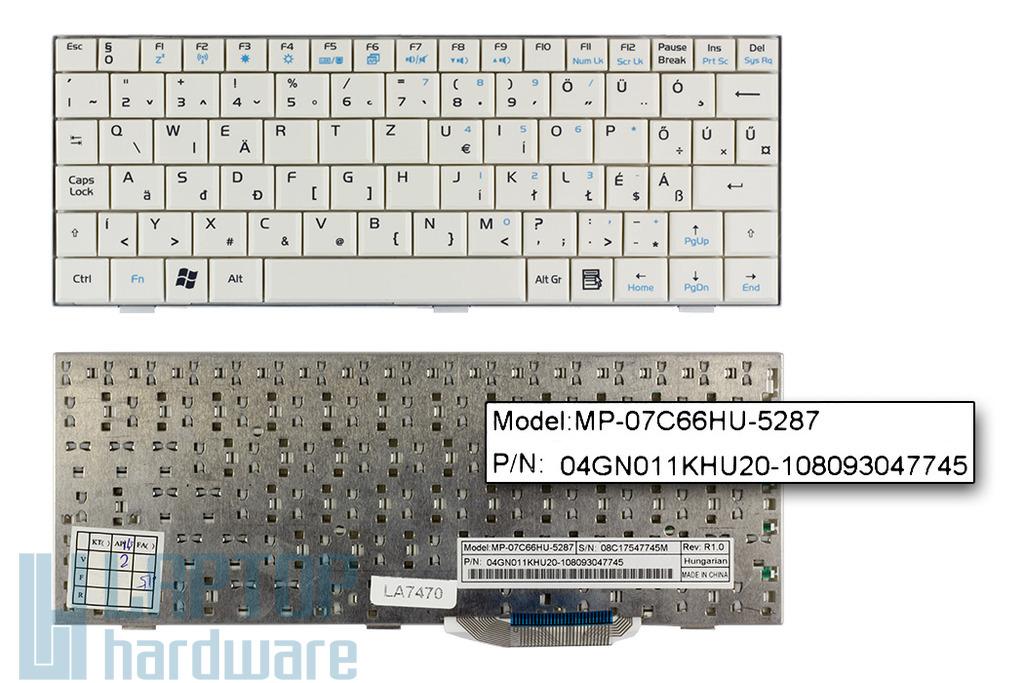 Asus EEEPC 700, 900 gyári új magyar fehér laptop billentyűzet (04GN021KHU00)