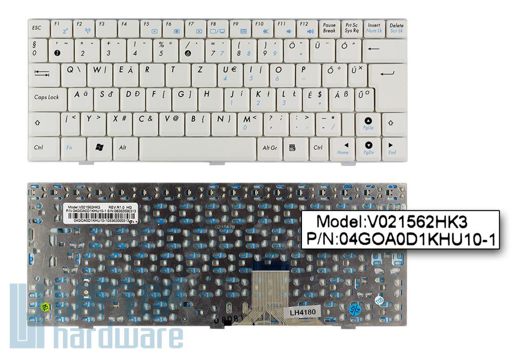Asus EEEPC 904HD, 1000, S101 gyári új magyar fehér laptop billentyűzet (V021562HK3)