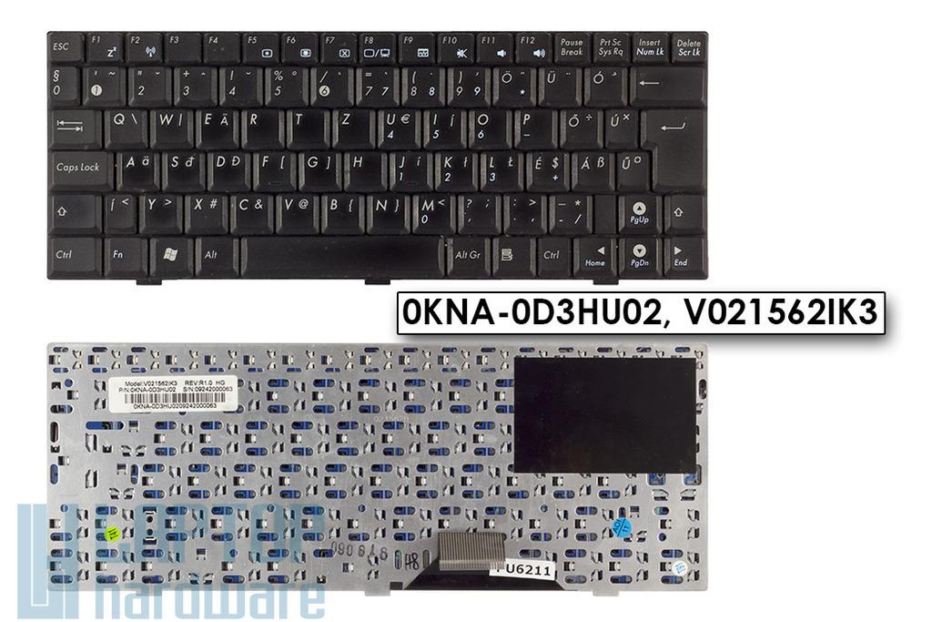 Asus EEEPC 904HD, 1000, S101 használt fekete magyar laptop billentyűzet, 0KNA-0D3HU02