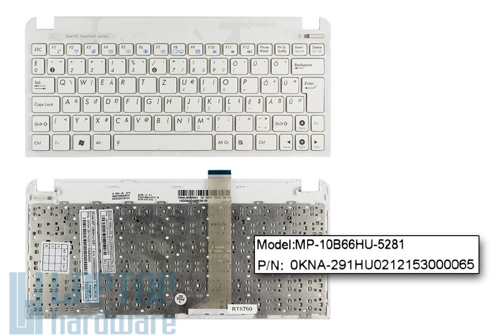 Asus EEEPC Seashell 1011PX, 1015BX, R011PX gyári új magyar fehér laptop billentyűzet (90R-OA3D1K1B00Q)