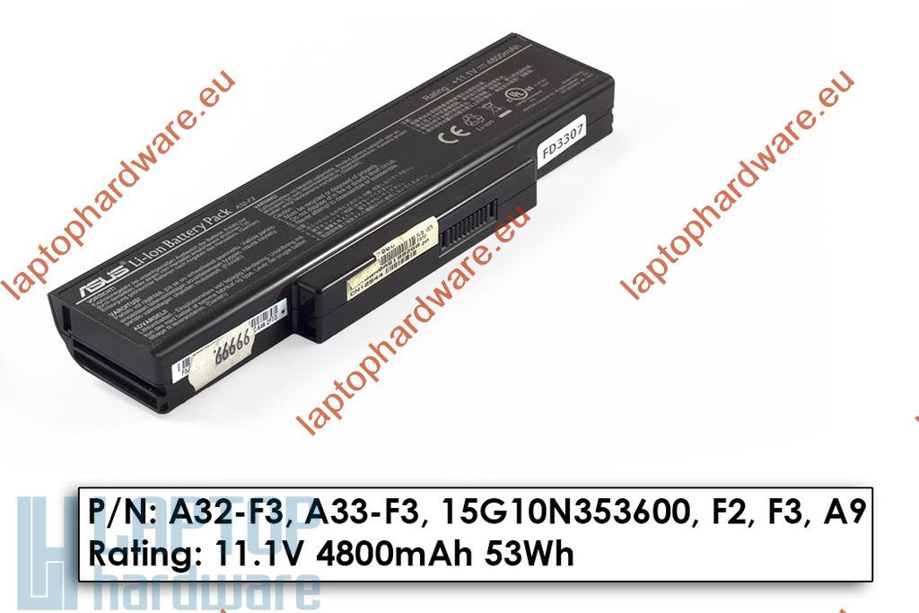 Asus F3, X52, X53 hasznalt 6 cellás 80%-os gyári laptop akku/akkumulátor (A32-F3)