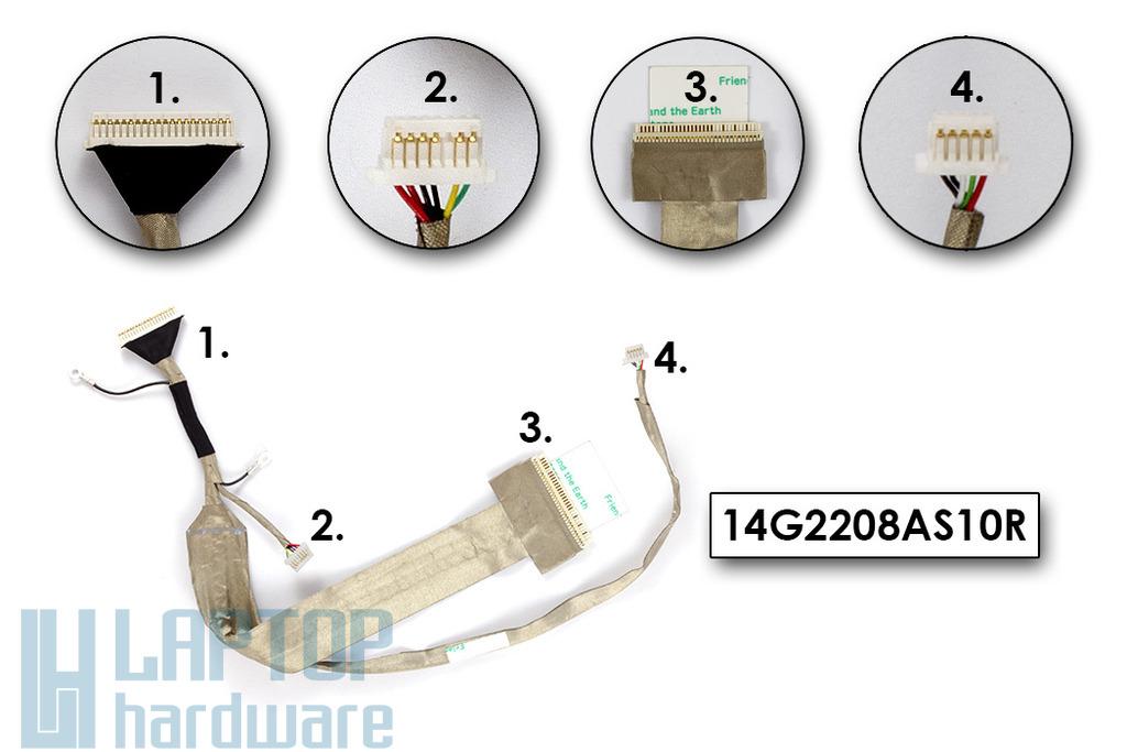 Asus F80L, F80Q, F80S laptophoz gyári új LCD kábel, 14G2208AS10R