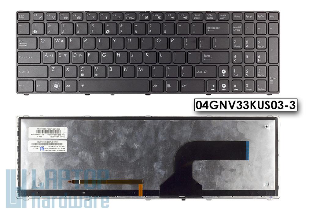 Asus G53JW, G73JH gyári új US angol háttér-világításos laptop billentyűzet (04GNV33KUS03-3)