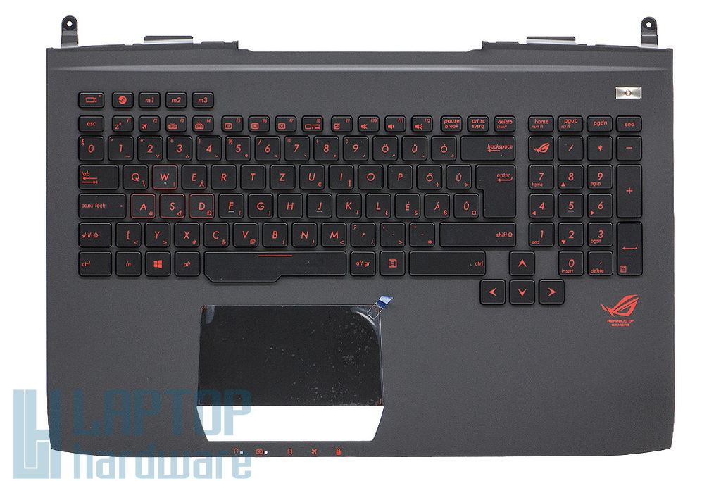 Asus G751JM, G751JT, G751JY gyári új háttér-világításos magyar fekete-vörös laptop billentyűzet modul touchpaddal (90NB06G1-R30130)