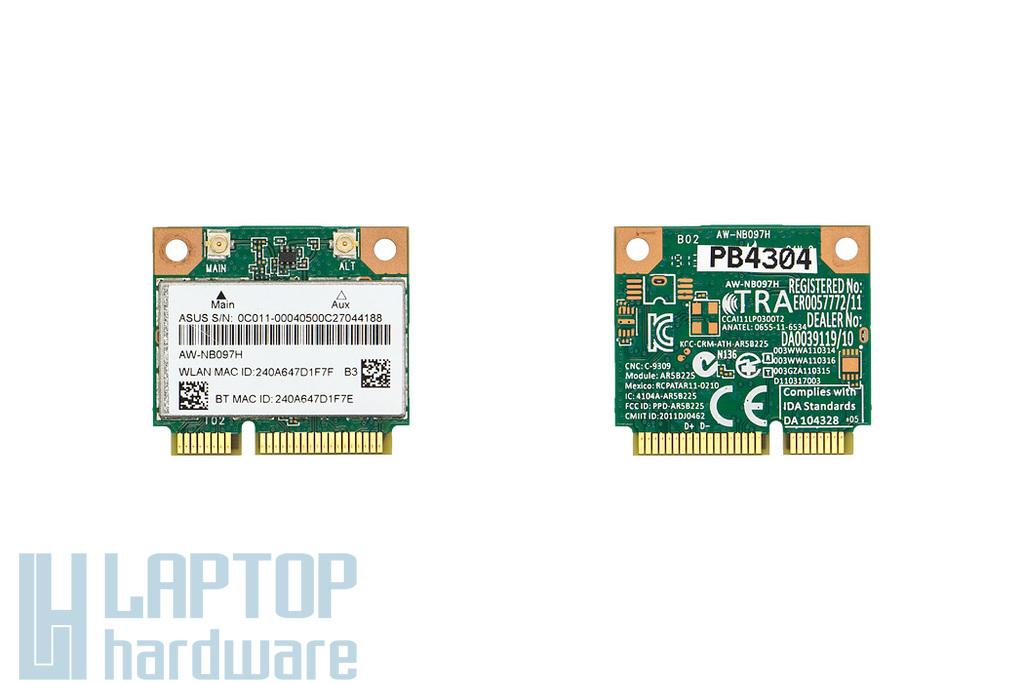 Asus K43, K53, K73, K93 laptophoz használt Mini PCI-e (half) WiFi 802.11B/G/N és Bluetooth 4.0 kártya, AW-NB097H, 0C011-00040500