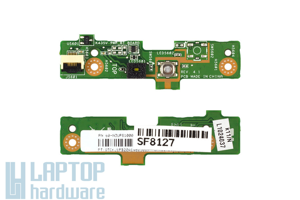 Asus K43SJ, K43SM, K43SV gyári új laptop bekapcsoló gomb panel, 60-N3UPS1000-I01