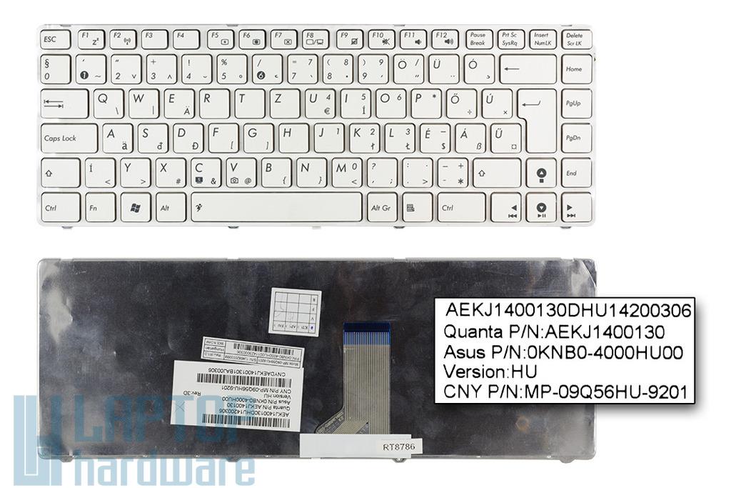 Asus K43SJ, UL30VT, UL80VT gyári új magyar fehér laptop billentyűzet (0KNB0-4000HU00)