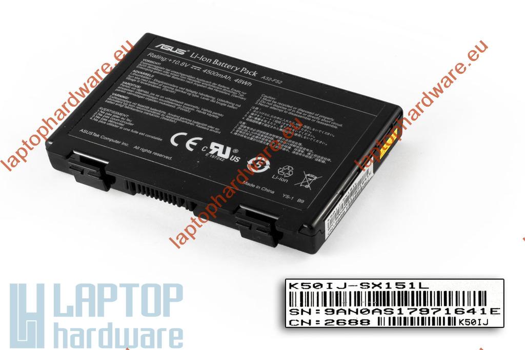 Asus K50 sorozat használt, 6 cellás 35%-os laptop akku/akkumulátor (A32-F82)