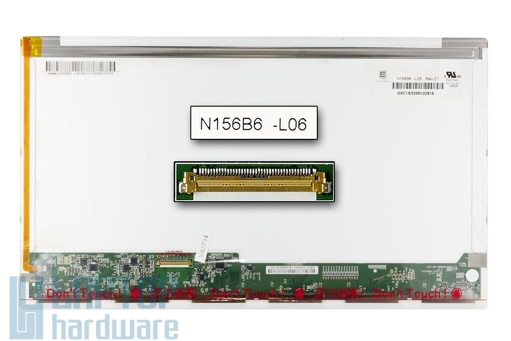 Chi Mei N156B6-L0B 1366x768 HD LED használt fényes notebook kijelző, B katekoriás