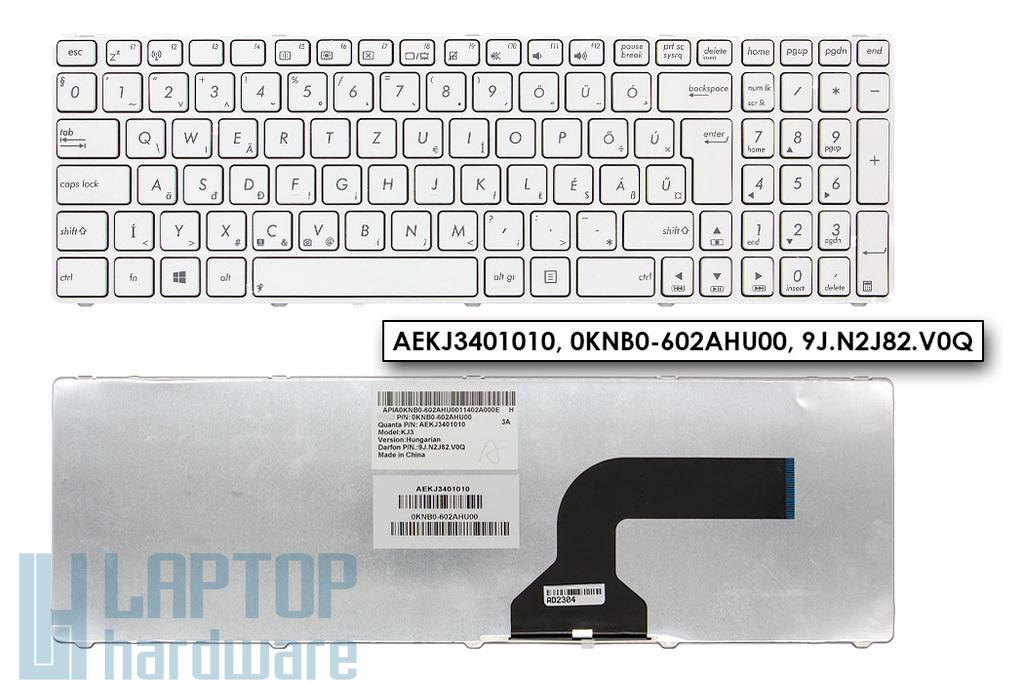 Asus K52, K72, X52 sorozatú laptophoz gyári új magyar fehér billentyűzet (Win8) (AEKJ3401010, 0KNB0-602AHU00)