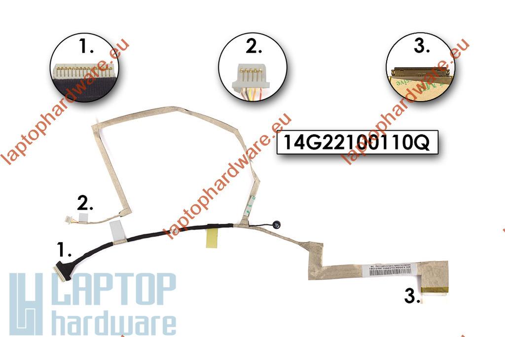 Asus K52DY, K52F, K52N használt laptop LED LCD kábel, 14G22100110M