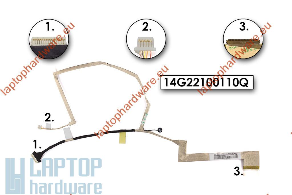Asus K52DY, K52F, K52N laptop használt LED LCD kábel, 14G22100110Q, 14G22100110V
