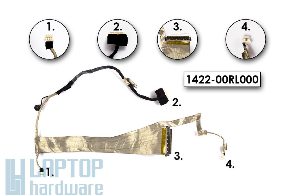 Asus K52DR, K52JC, K52JE laptop gyári új CCFL LCD kábel, 1422-00RL000, 14G22100120V