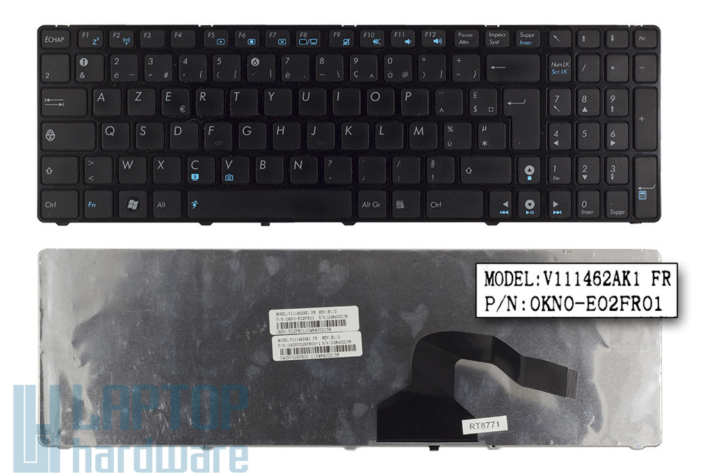 Asus K52DE, K72F, N61JV használt francia laptop billentyűzet (04GNV32KFR00-1)