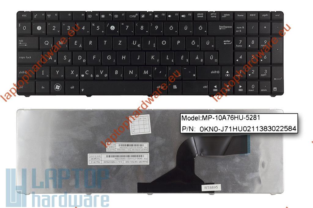 Asus K54C, N54HR Wave használt magyar fekete laptop billentyűzet (04GN0K1KHU00-6)