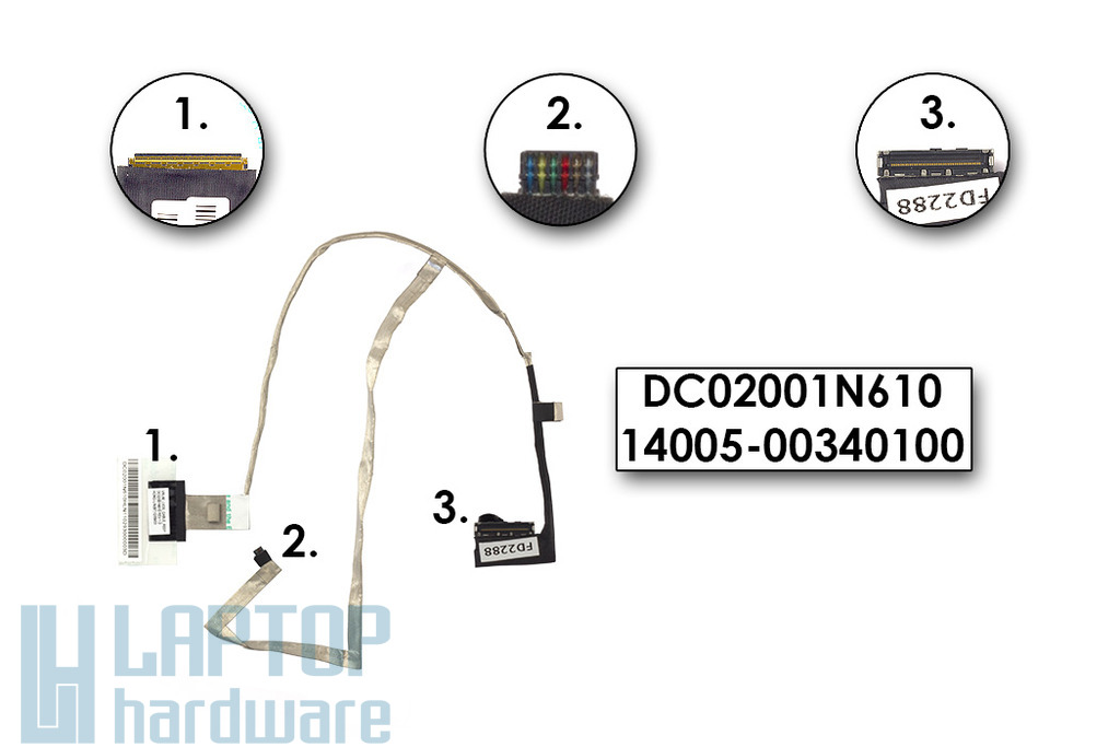 Asus K53BE, K53T, A53U laptophoz gyári új LCD kábel, DC02001N610
