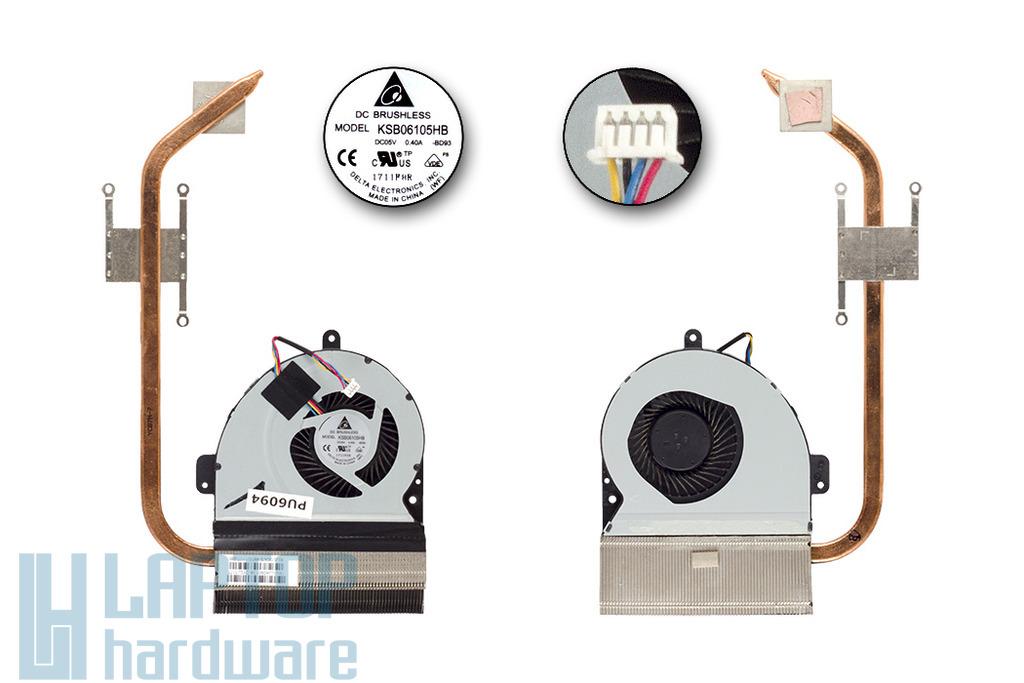 Asus K54C, K54L laptophoz használt komplett hűtő ventilátor egység, 13GN7B1AM010