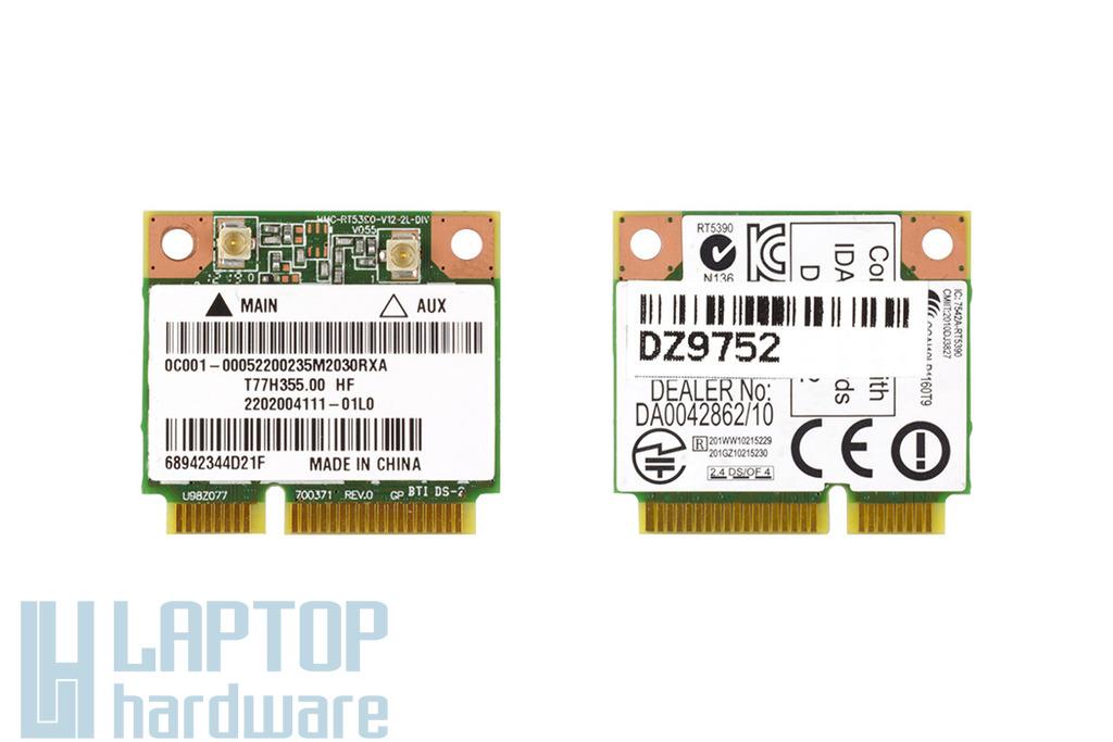 Asus K54C, K84L, X301A, X401A, X401U, X45U, X501A, X501U, X55U, X402CA, X75VC, X450MD, X751LN laptophoz gyári új Mini PCI-e (half) WiFi 802.11B/G/N, 0C001-00052200