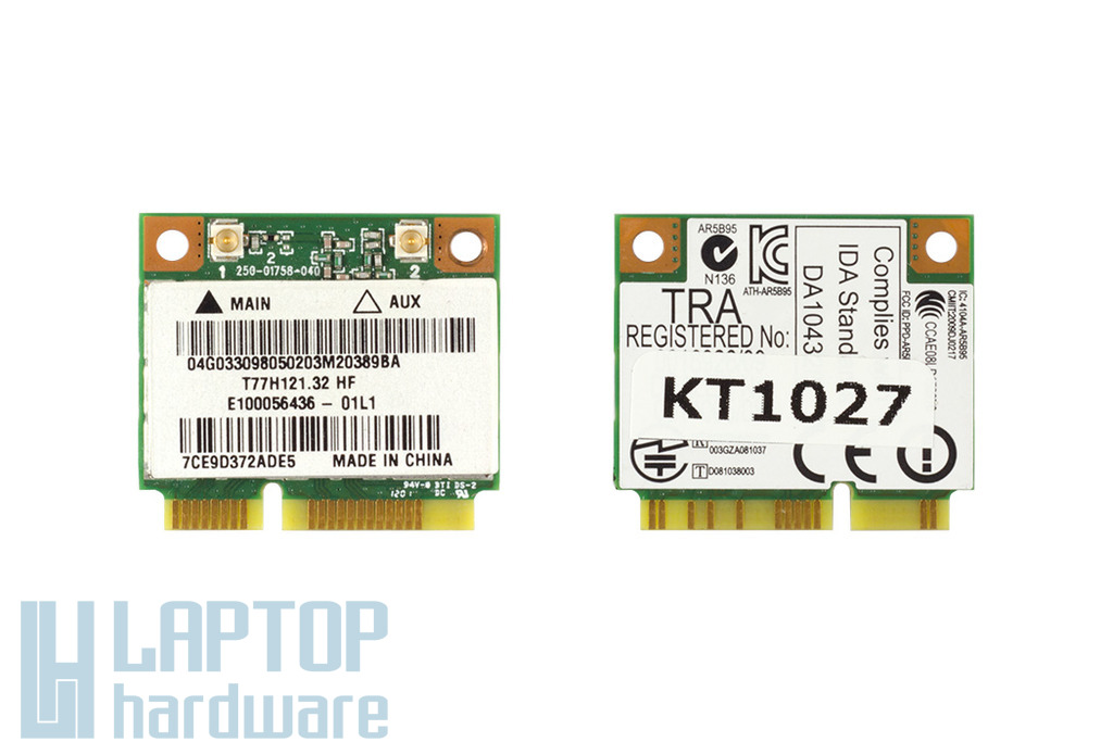 Asus K54L, K54LY, K84C laptophoz gyári új Mini PCI-e (half) WiFi 802.11B/G/N kártya, AR5B95, 04G033098050
