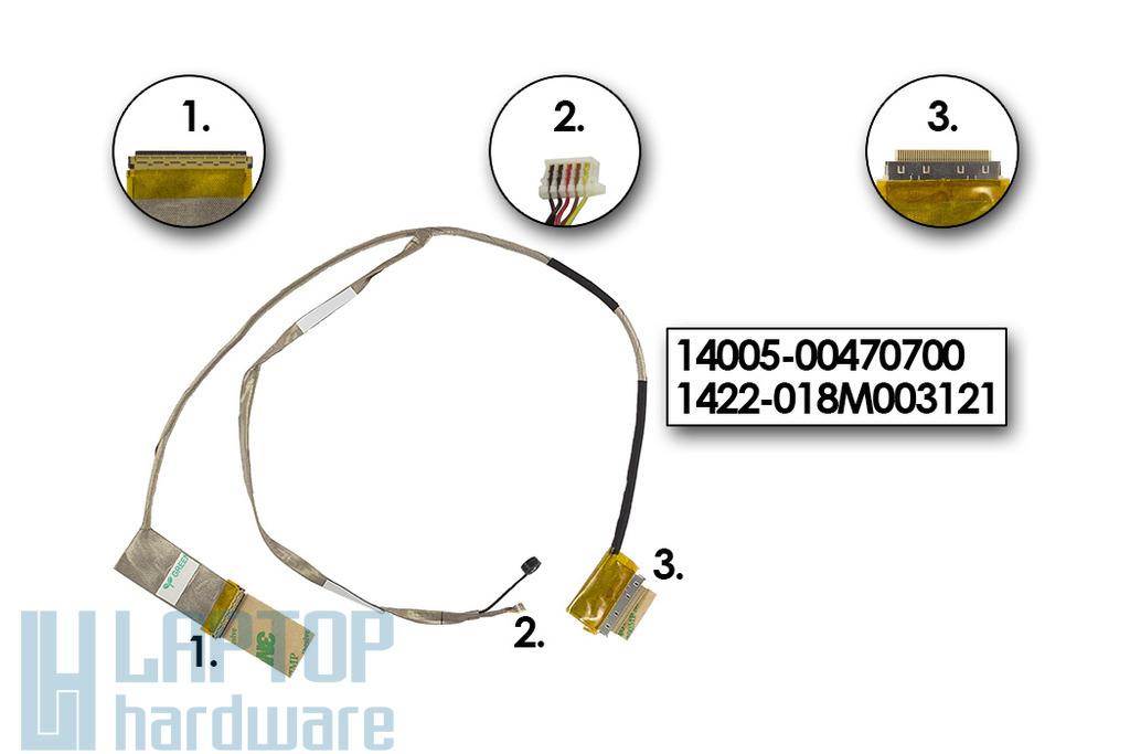 Asus K55A, K55VD, K55VM gyári új laptop LCD kijelző kábel mikrofonnal (14005-00470700)