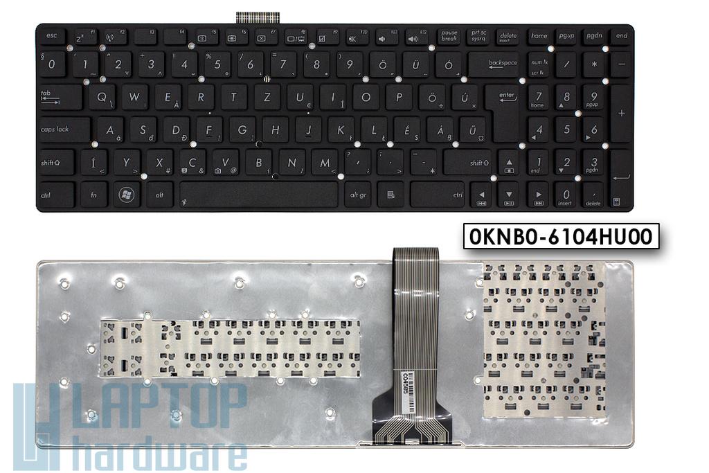 Asus K55A, K55VD, K55VM gyári új magyar fekete keret nélküli laptop billentyűzet (Win7) (0KNB0-6104HU00)