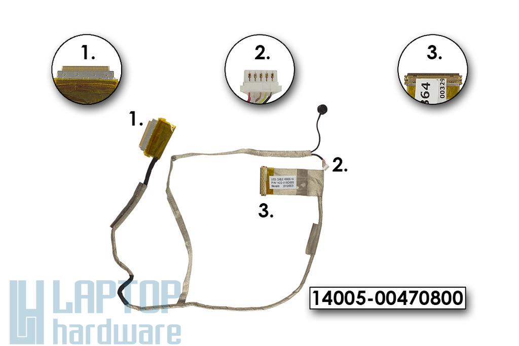 Asus K55N, K55DR, K55DE használt laptop LCD kijelző kábel, 14005-00470800