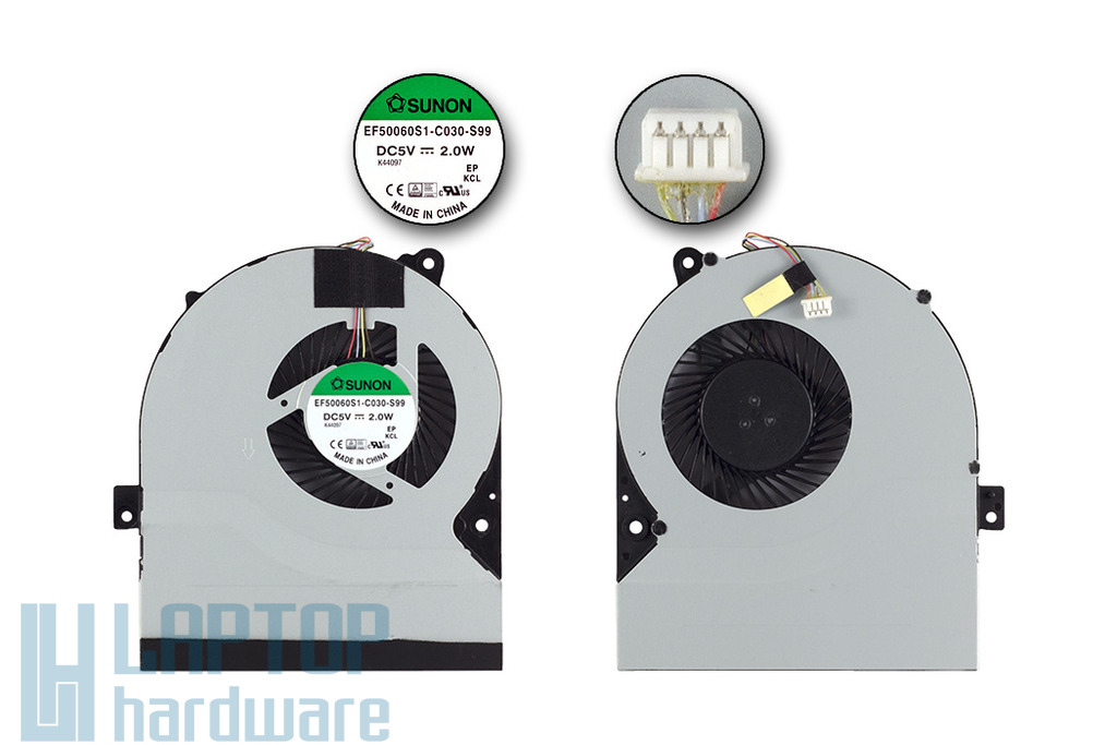 Asus K56CA, K56CM, K56CB gyári új laptop hűtő ventilátor, 13GNUH10T130-1
