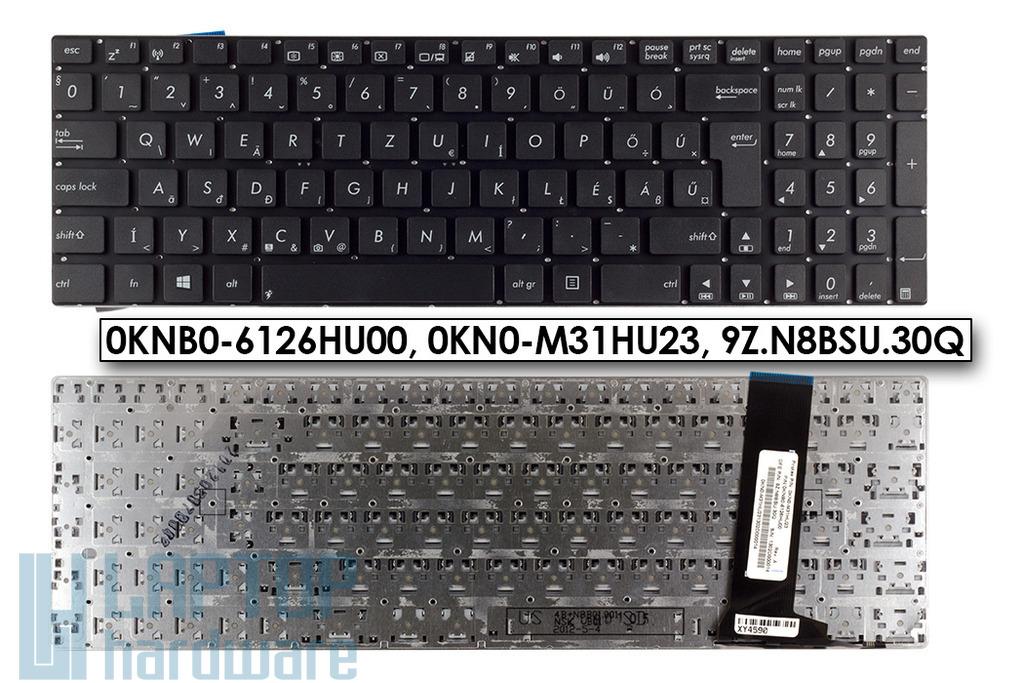 Asus N56, N76 sorozatú laptopokhoz gyári új magyar fekete billentyűzet (0KNB0-6126HU00)