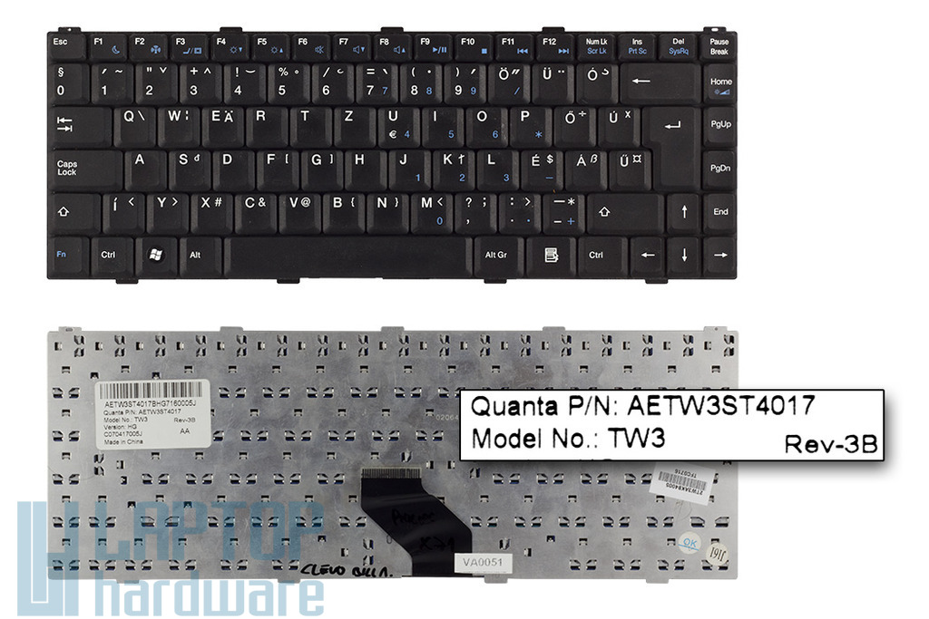 Asus S96, Z96, Philips X54, X58, X71, X72, Dell Inspiron 1427 használt magyar laptop billentyűzet (AETW3ST4017)