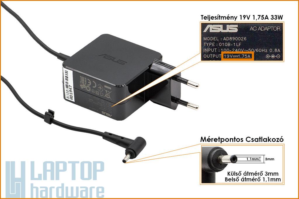 Asus Transformer Book T200TA, T300FA, T300CHI 19V 1.75A 33W gyári új netbook töltő (AD890026, Type: 010BLF, 0A001-00341600)