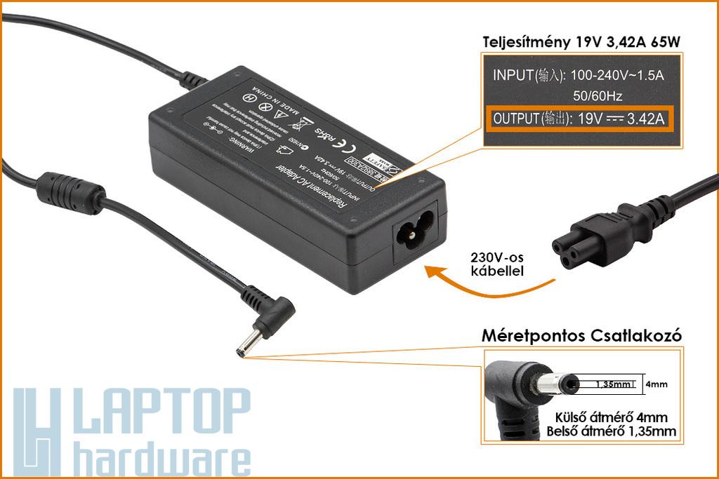 Asus UX303, TP300 19V 3.42A 65W 4mm/1.35mm helyettesítő új laptop töltő