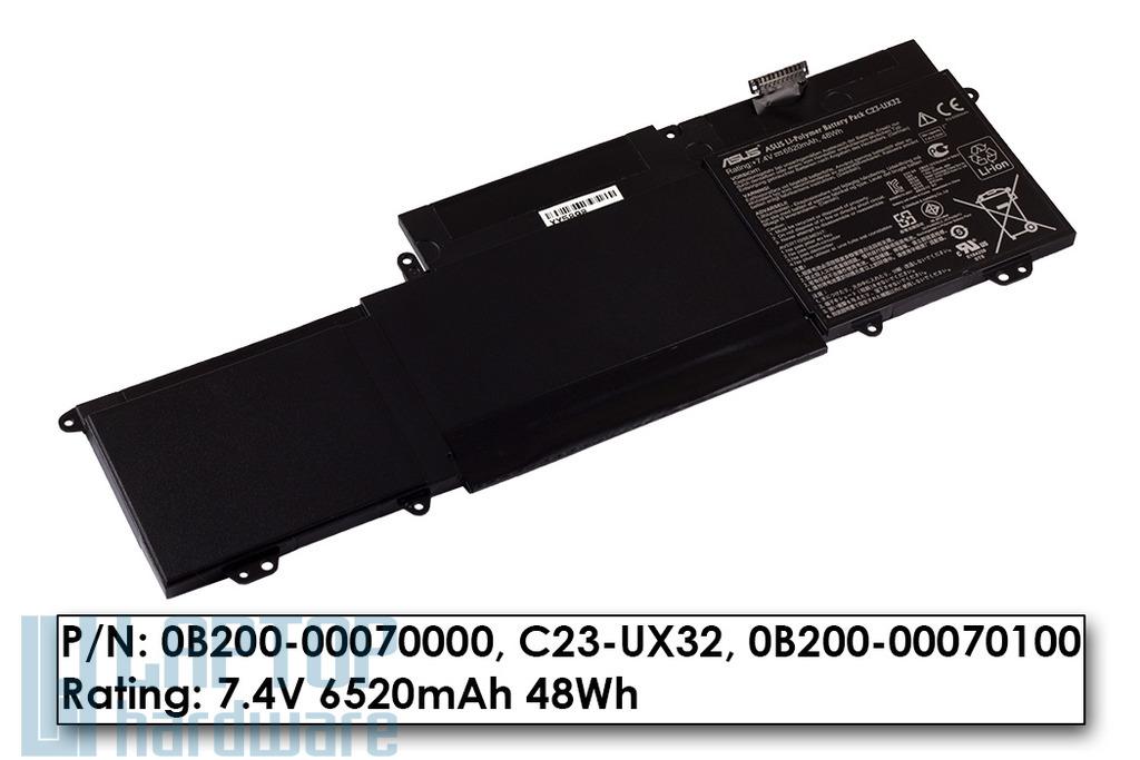 Asus UX32A, UX32VD, U38N, U38DT gyári új 6 cellás laptop akku/akkumulátor (0B200-00070000, C23-UX32)