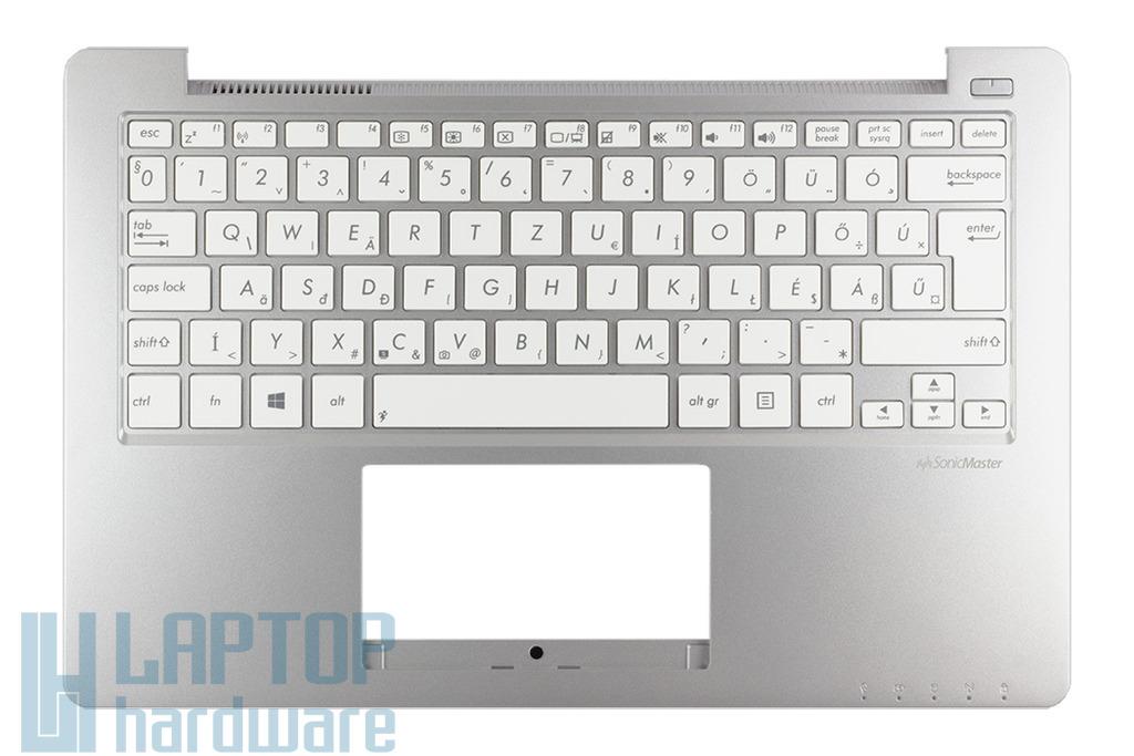 Asus X201E gyári új magyar ezüst laptop billentyűzet modul fehér billentyűkkel (90NB00L1-R31HU0, 13NB00L1AM0102-2)