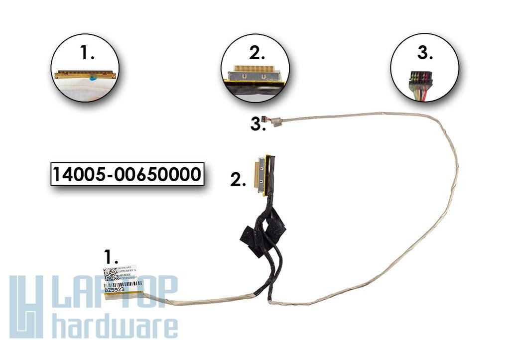 Asus X202, X201, S200, használt laptop LCD kábel, 14005-00650000
