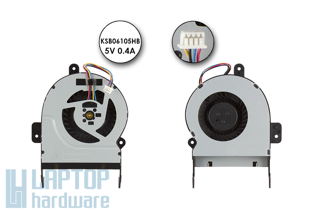 Asus X45C, X55V gyári új laptop hűtő ventilátor (INTEGRÁLT VGA!, 8mm vastag), KSB06105HB