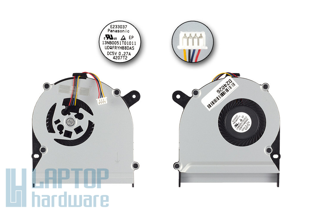 Asus S400CA, S500CA, X402, X502 gyári új laptop hűtő ventilátor, 4 pines (13NB0051AM060-2)