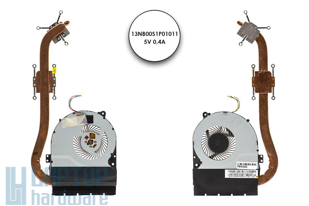 Asus X550CC, X550CL használt laptop komplett hűtő ventilátor egység (13NB00W1AM0101, 13N0-PHA0101)