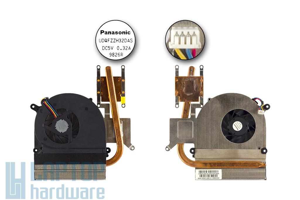 Asus K51AC, K70AC használt komplett laptop hűtőegység (4 eres) (13GNVY1AM010, 13N0-EUA0101)