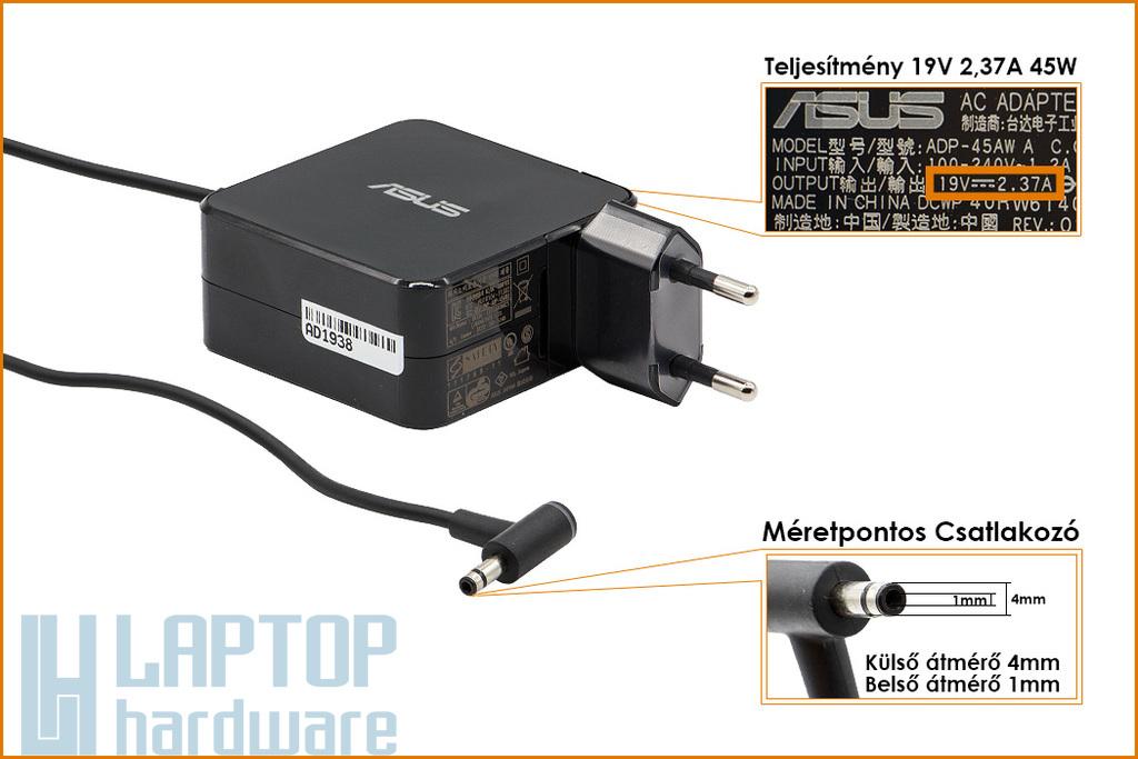 Asus Zenbook UX31 19V 2.37A 45W 4mm/1mm gyári új laptop töltő, + ajándék fali dugó (0A001-00230800)