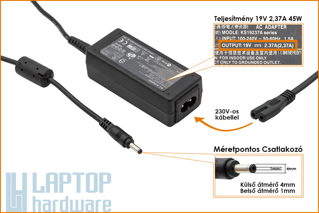 Asus Zenbook UX31A 19V 2.37A 45W 4mm/1mm helyettesítő új laptop töltő