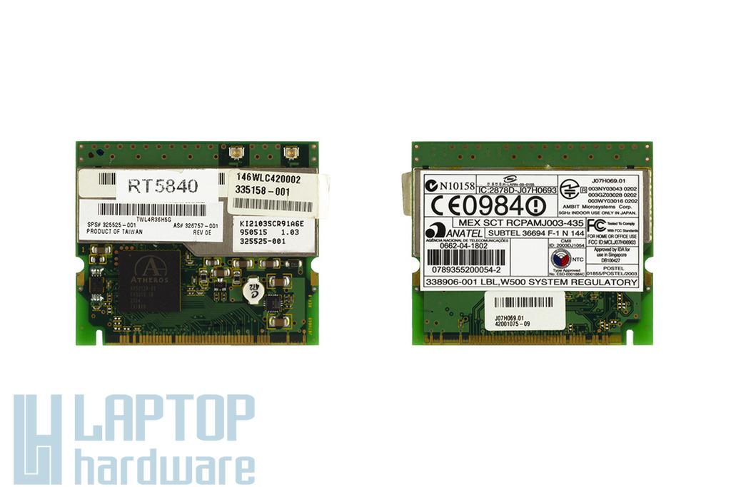 Atheros AR5212A-00 használt Mini PCI WiFi kártya Compaq laptophoz (J07H069.01, 325525-001)