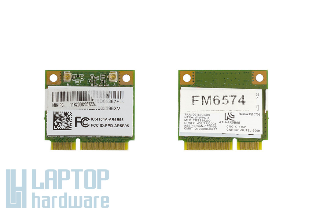 Atheros AR5B95 használt Mini PCI-e (half) WiFi kártya (4104A-AR5B95)