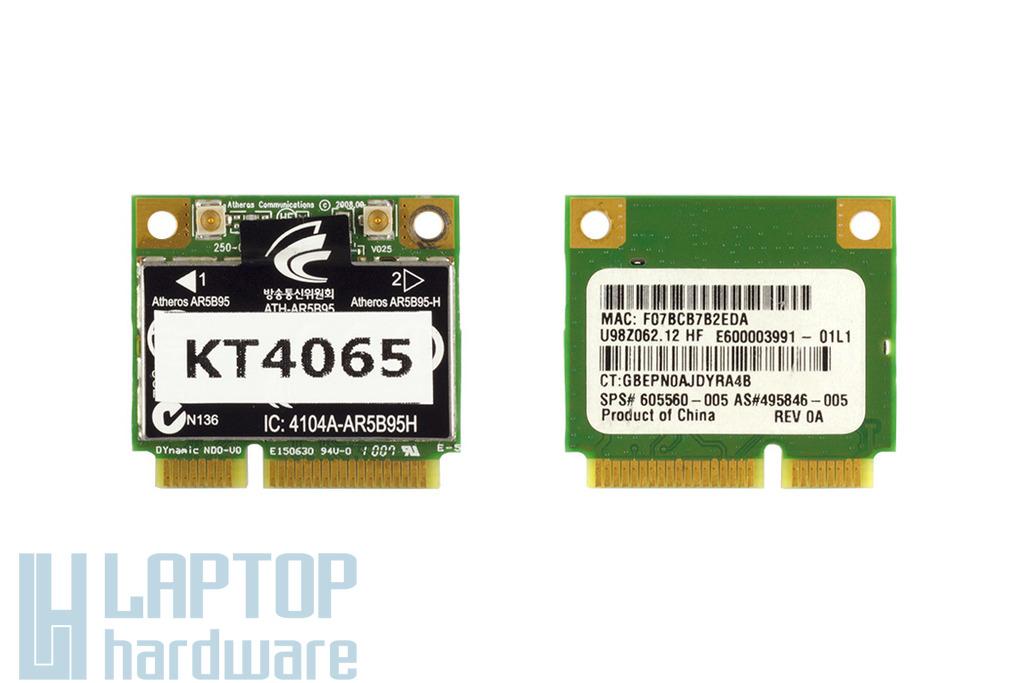 Atheros AR5B95 használt Mini PCI-e (Half) WiFi kártya Compaq Presario CQ61 laptophoz, 605560-005