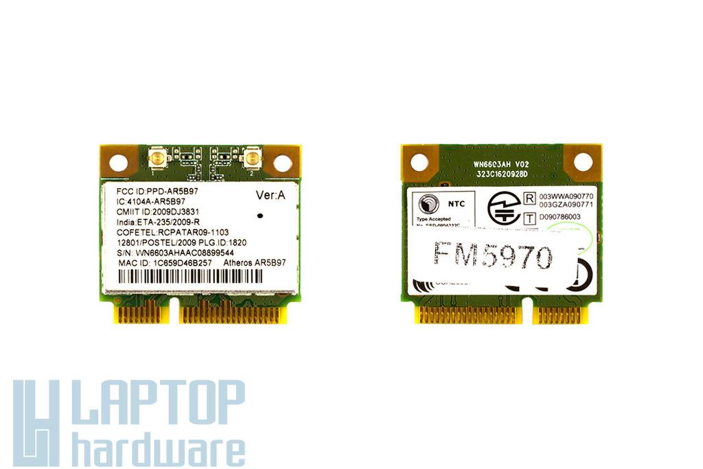 Atheros AR5B97 használt Mini PCI-e (half) WiFi kártya (4104A-AR5B97)
