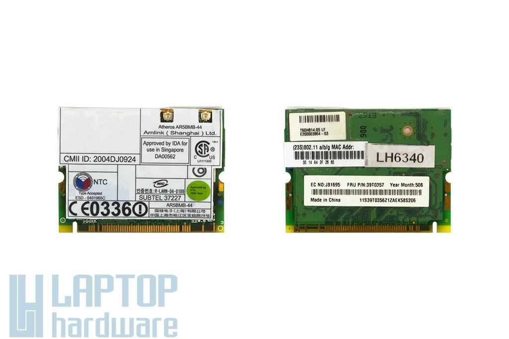 Atheros AR5BMB-44 használt Mini PCI laptop WiFi kártya IBM laptophoz (39T0357)