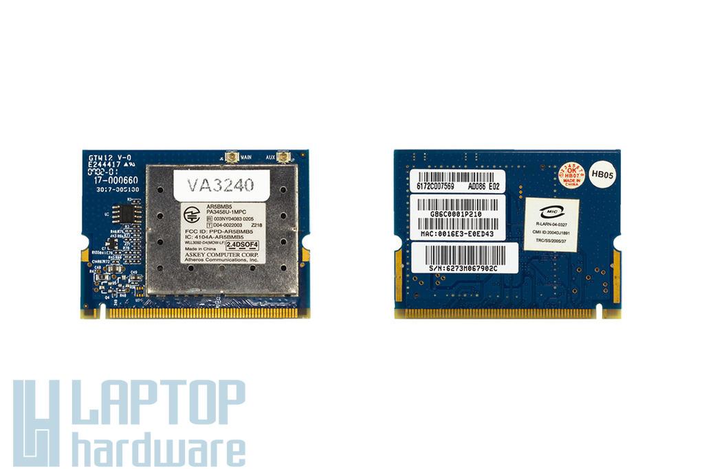 Atheros AR5BMB5 használt Mini PCI WiFi kártya Toshiba laptophoz (PA3458U-1MPC)